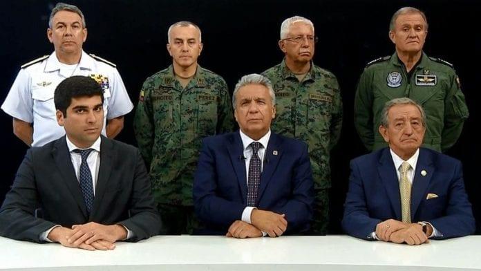 Gobierno de Ecuador ordenó toque de queda nocturno alrededor de sedes públicas