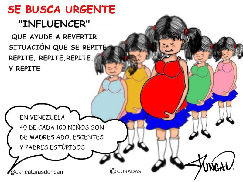 Embarazo precoz - Caricatura de Duncan
