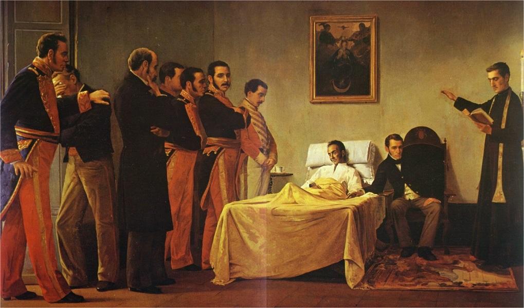 El 17 de diciembre de 1830 muere el Libertador Simón Bolívar