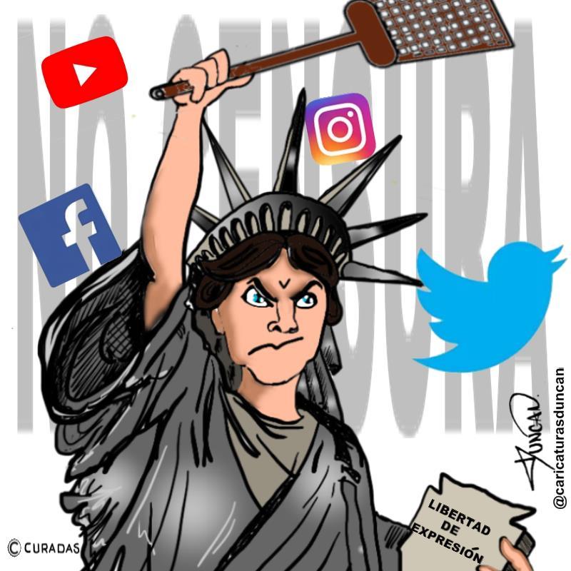 ¡No a la censura! - Caricatura de Duncan