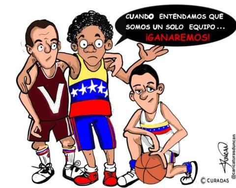 Un solo equipo... Caricatura de Duncan