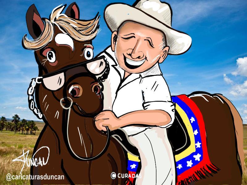 Simón y su caballo viejo - Caricatura de Duncan